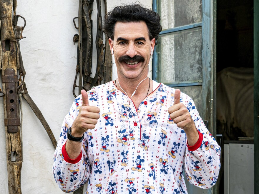 Baron Cohen plays a Kazakh TV<strong> </strong>journalist who travels around the U.S. with his daughter in <em>Borat Subsequent Moviefilm.</em>