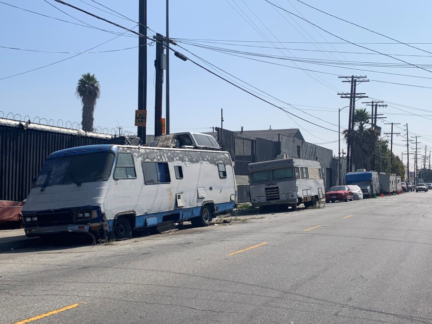 RVs line neighborhood streets in Los Angeles, where nearly 10,000 people live in vehicles.
