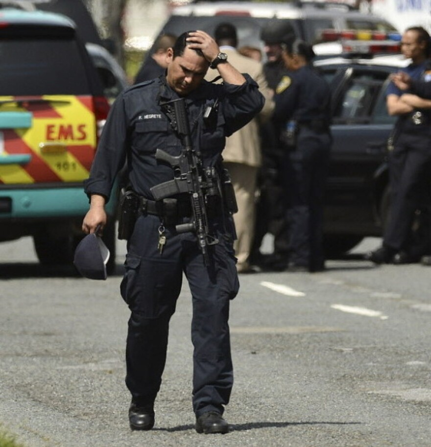 Police descended on Oikos University in Oakland, Calif., Monday after the shootings that left at least seven people dead.