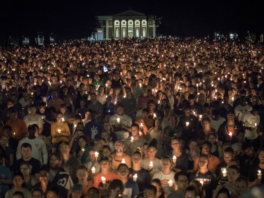 Thousands gathered on the lawn at U.Va. Wednesday night.