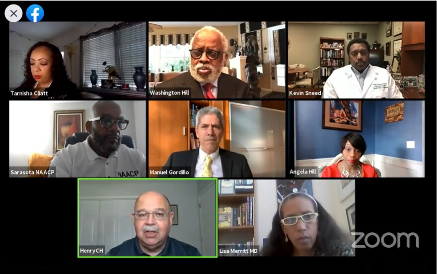 A screenshot of a Zoom meeting featuring Black and Hispanic doctors
