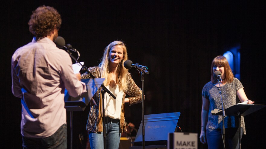 Brooklyn Decker with hosts Ophira Eisenberg and Johnathan Coulton at the Majestic Theater in Dallas, Texas.