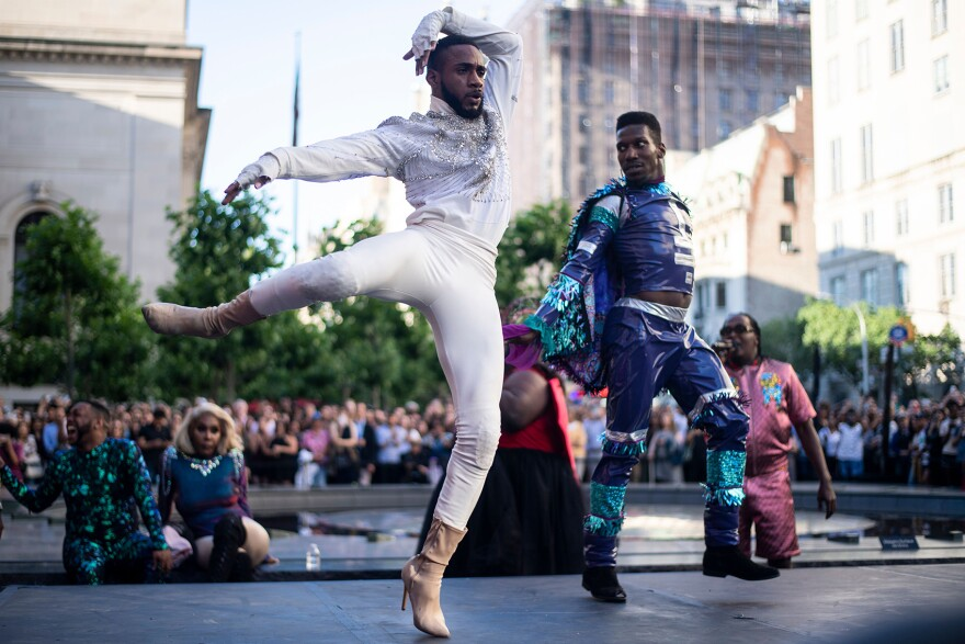"Performers compete during the ""Battle of the Legends"" vogueing competition outside of the Metropolitan Museum of Art on June 11, 2019 in New York City. (Johannes Eisele/AFP via Getty Images)"