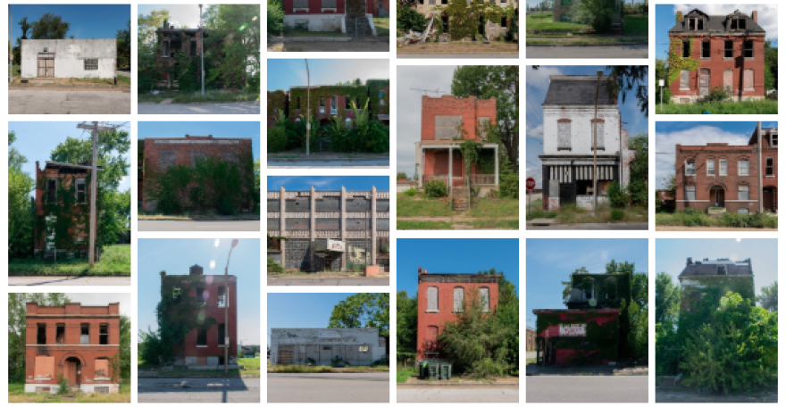 "A screenshot from ""Promises Not Kept"" of vacant houses"