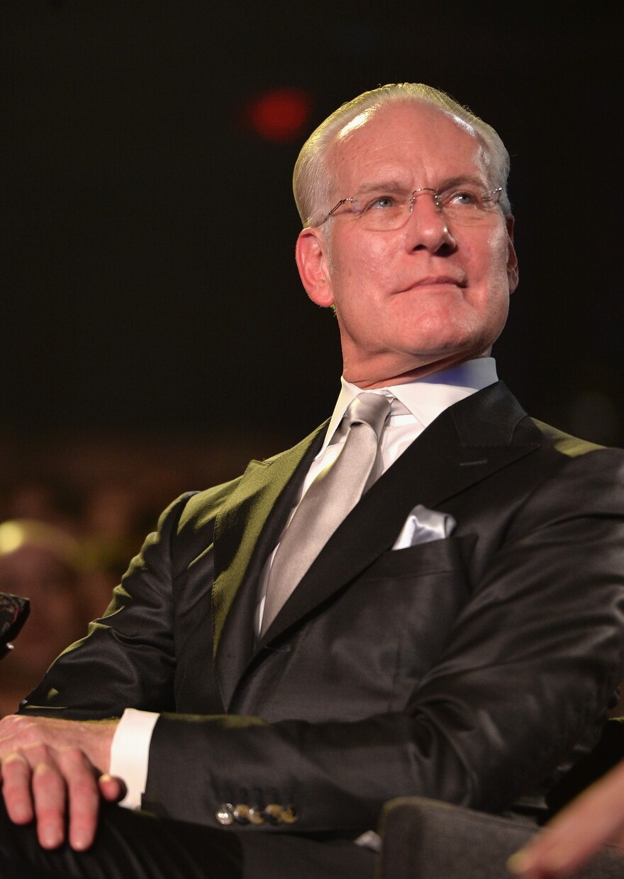 """""""The term 'vegan leather' makes me think that you peeled a carrot and took the skin and made a jacket out of it,"""" says Tim Gunn, pictured above at the <em>Under the Gunn</em> finale fashion show."""