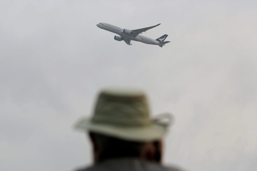 """""""There's a lot of room for more airplane seats in the United States,"""" says Andrew Levy, CEO of XTRA Airways. The airline could carry passengers as America's newest """"ultra-low-cost carrier"""" by late this year. Pictured: A passenger aircraft takes off from Hong Kong International Airport. (Kin Cheung/AP)"""
