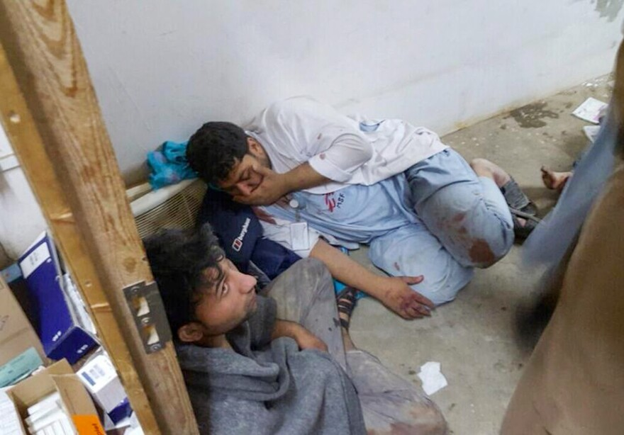 Injured staff members for Doctors Without Borders find shelter in a safe room after the bombing raid hit their hospital in Kunduz, Afghanistan.