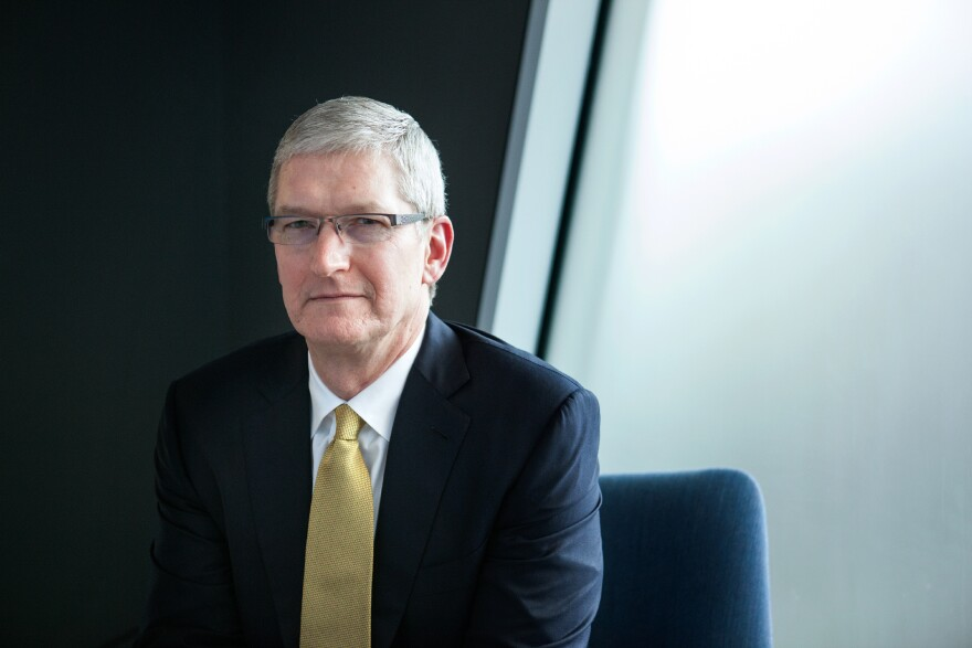 """We don't collect a lot of your data and understand every detail about your life. That's just not the business that we are in,"" says Apple CEO Tim Cook, shown here at the NPR offices in Washington, D.C., on Thursday."