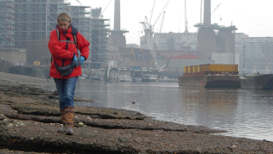 <em></em>Lara Maiklem searches for treasures along the foreshore of the Thames.
