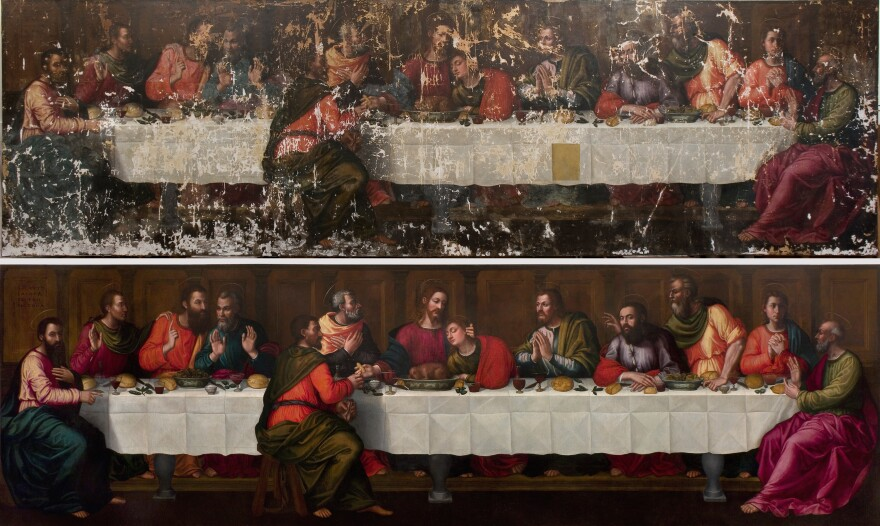 Nelli's <em>Last Supper, </em>before and after restoration.
