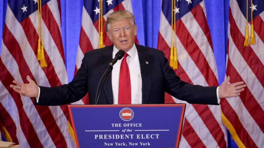 Donald Trump speaks during a news conference on Wednesday in New York, his first as president-elect.