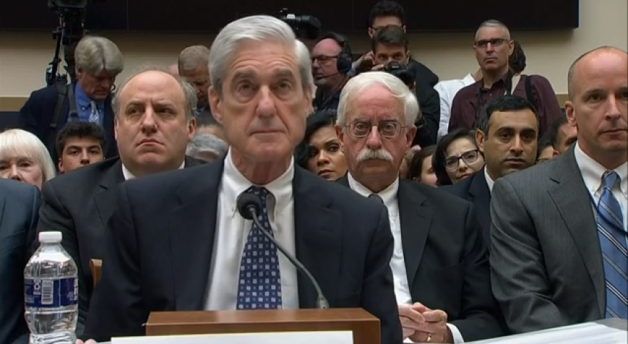 Former Special Council Robert Mueller sitting before a House panel of his testimony on his report on Russian interference in the 2016 election.