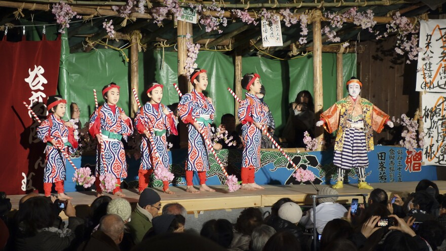 Six of Damine's 10 remaining children perform in the finale of the village's annual kabuki festival.
