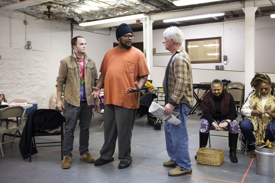 """Colin McLaughlin, Larry Sheldon and Kevin FitzGerald rehearse a scene from """"Workers' Opera."""" Jan. 19, 2020"""