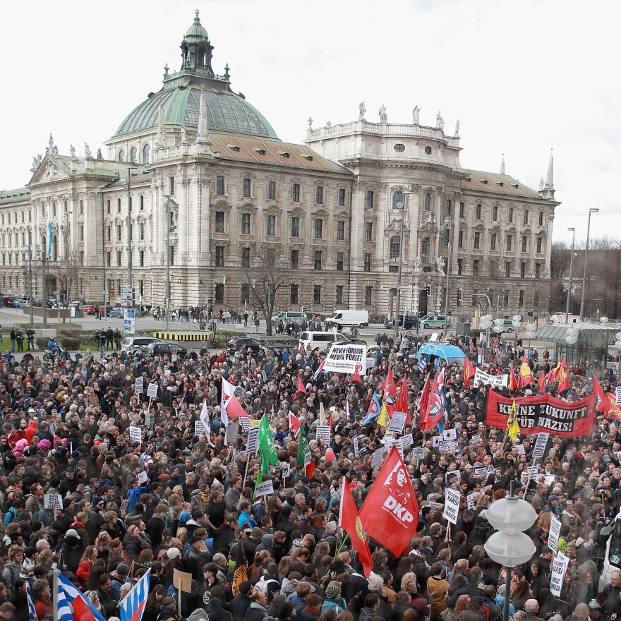 Activists in Munich protest right-wing violence last month.