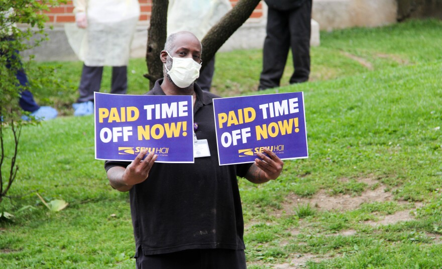 A worker at Royal Oak Nursing & Rehabilitation demanding paid sick leave and hazard pay during the COVID-19 pandemic on April 22, 2020.