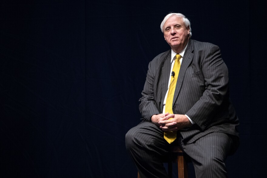 West Virginia Gov. Jim Justice gives a speech during a Department of Tourism conference Wednesday, Sept. 19, 2018, at the Morgantown Event Center.