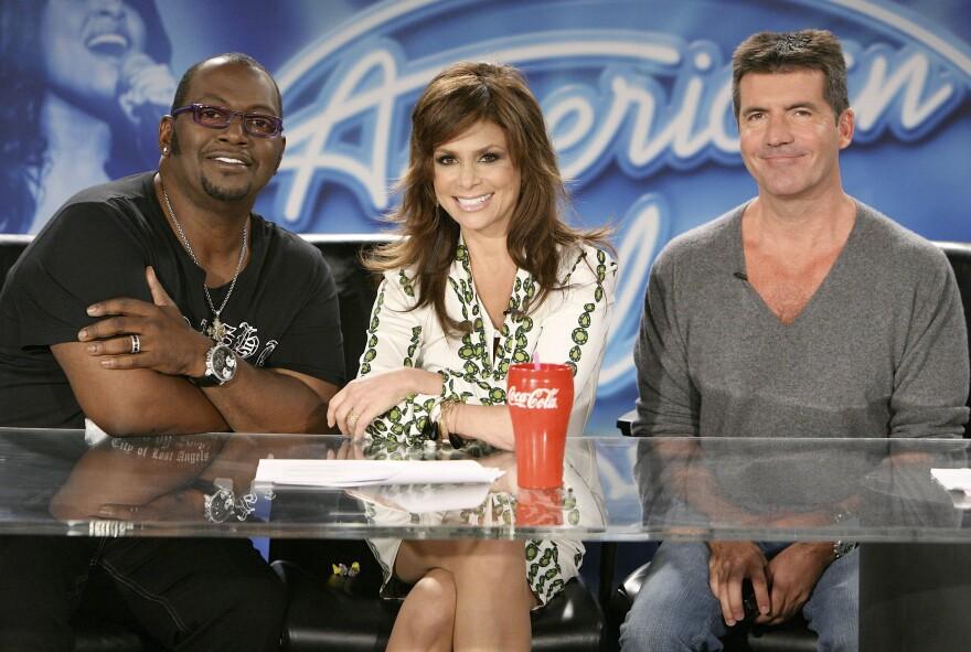 Randy Jackson, Paula Abdul and Simon Cowell, the original judges on Fox's <em>American Idol</em>.