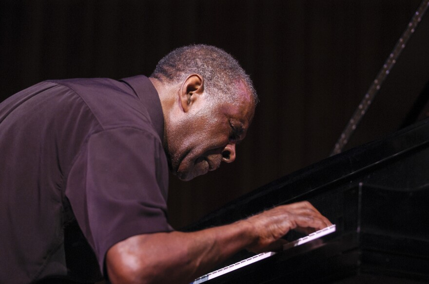 Free jazz musician and composer Muhal Richard Abrams plays piano as he performs during a World Music Institute concert in New York City in 2004.