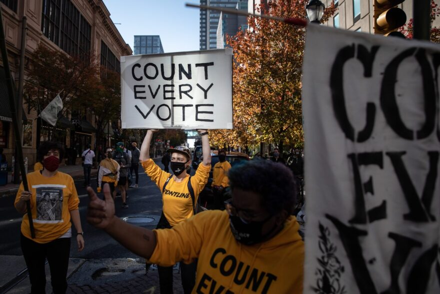 People participate in a protest in support of counting all votes as the presidential election in Pennsylvania is still too close to call in Philadelphia, Pennsylvania.