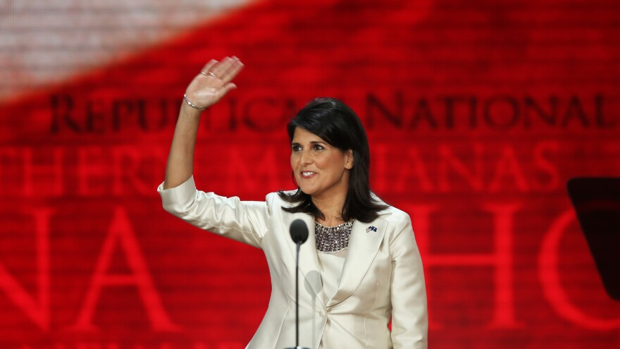 """South Carolina Gov. Nikki Haley speaks Tuesday at the Republican National Convention in Tampa, Fla. Earlier in the day, she said: """"It's offensive to me as a woman and as a minority that Democrats can go and say, 'That party hates you,' and can get away with that."""""""