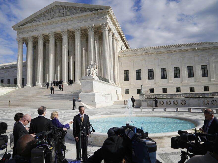 The case of Anthony Elonis, who was convicted in 2010 of making violent threats on Facebook, was argued at the Supreme Court in December. Here, an advocate for victims' rights speaks with reporters about the case.