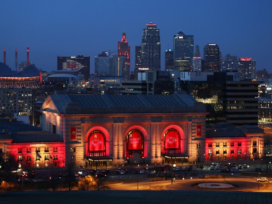 Union Station and the Kansas City skyline are lit on Feb. 01, 2021 in Kansas City, Mo. In June 2019, the U.S. Department of Agriculture announced its plan to move two of its research agencies out of Washington, D.C., to the Kansas City area. Rather than move, most of the people working at the agencies quit, leaving gaping holes in critical divisions.