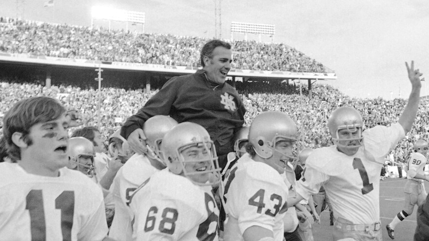 Ara Parseghian is carried off the field by Notre Dame players, who had just beaten the University of Texas in the Cotton Bowl in 1971.