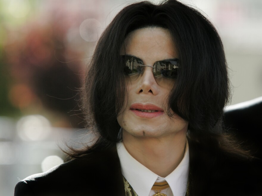 Michael Jackson arrives at a court house during his trial for child molestation in Santa Maria, Calif. in 2005.