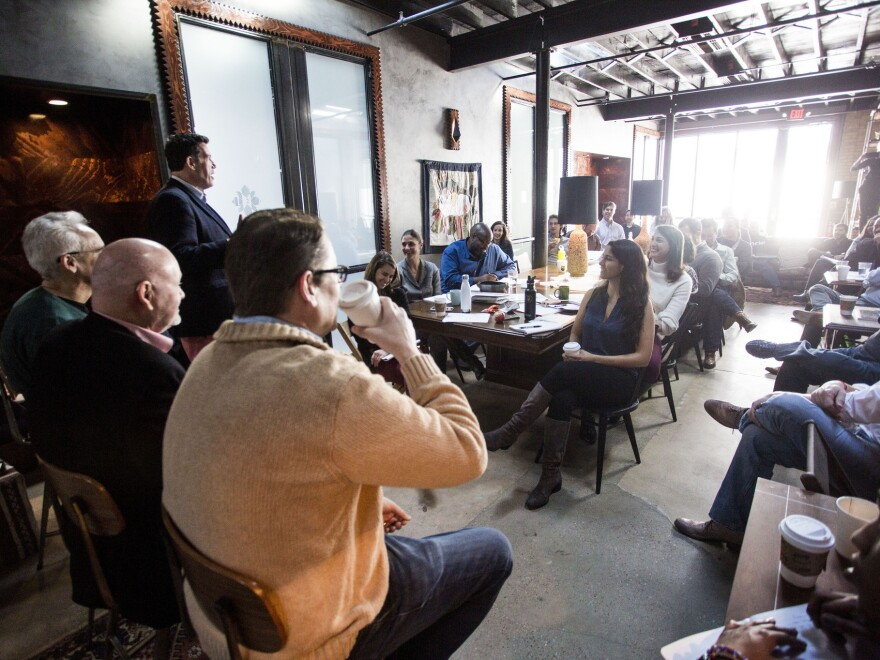 Former city politicians speak to participants of the Center for Austin's Future ATXelerator program at Native Hostel on Jan. 14, 2018.