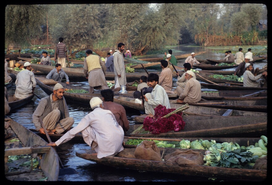 Even during times of peak militancy — such as when the author visited in 1993 and took this photograph — Dal Lake's floating wholesale produce market remained open.