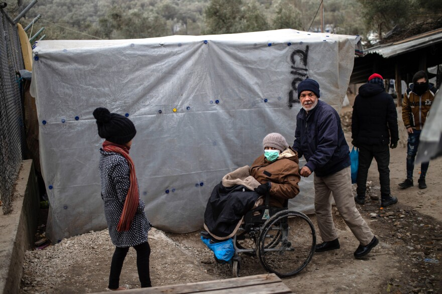 A scene from the Moria refugee camp on the island of Lesbos, Greece, in January.