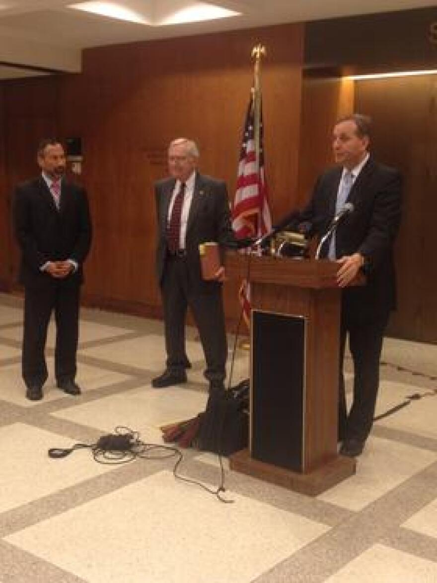 Florida Greyhound Association's David Bishop responding to the earlier press conference, pushing for decoupling. He's joined by Jack Cory (middle), the FGA's head of government affairs.