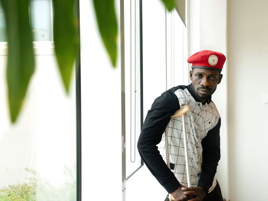 Ugandan politician and musician Bobi Wine has led opposition to Uganda's president, who has been in power since 1986. Wine says soldiers tortured him, but he will return to Uganda.