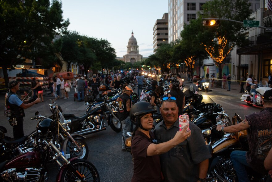 Bikers gather on Congress Avenue as part of the ROT Biker Rally weekend last year.