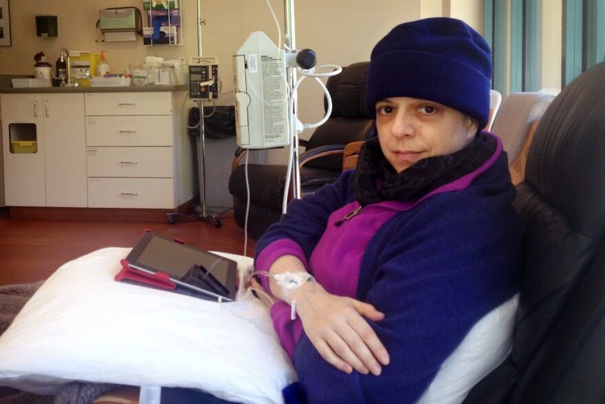 Jennifer Glass found out she had lung cancer four months after she got married. Here, her first round of chemo in February 2013.