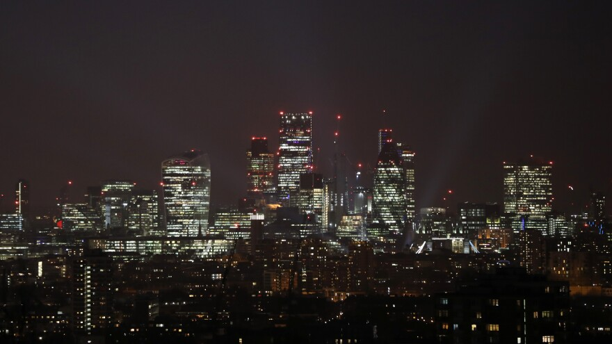 The London skyline, shown in March 2017, is still shining bright. But the U.K. is using noticeably less energy than it did more than a decade ago.