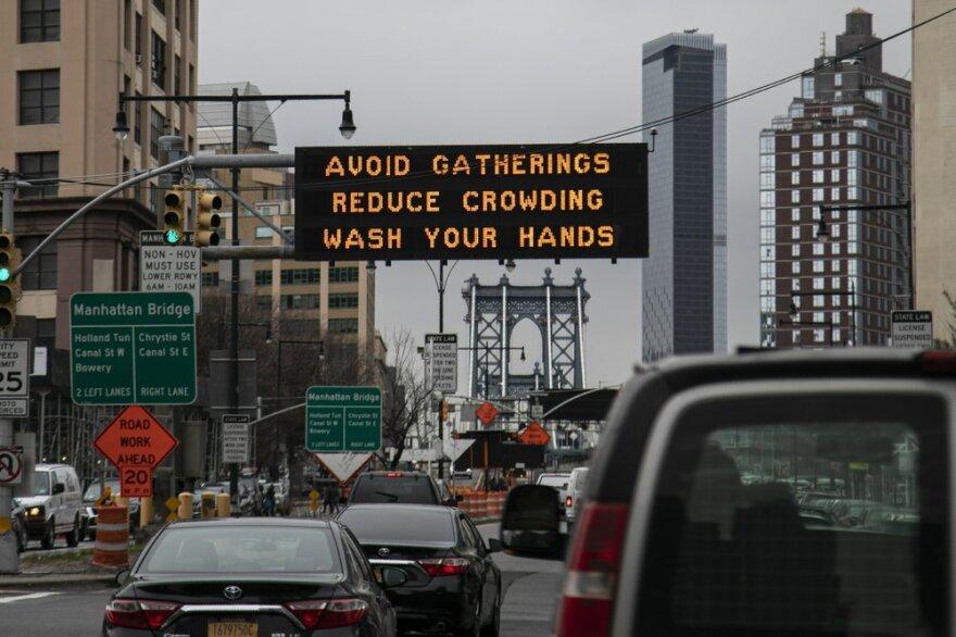 message sign on New York Bridge