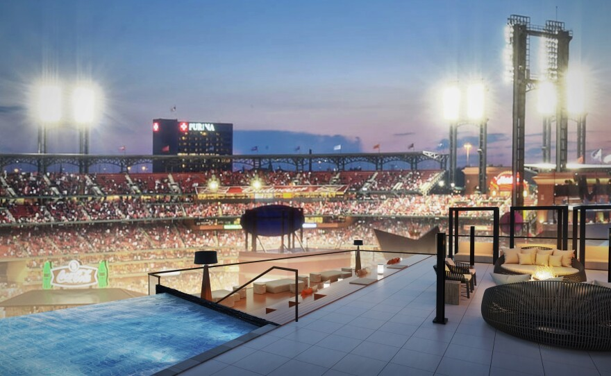 Artist rendering of what developers say the view will be like from the swimming pool area of One Cardinal Way, a 29-story apartment tower under construction at Ballpark Village. The building is expected to open during the summer of 2020.