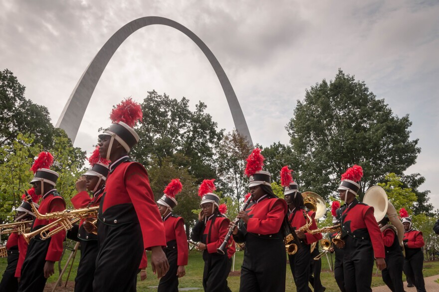 The Normandy High School Marching Band parades past the Arch Tuesday, July 3, 2018. The band performed as part of ceremonies to rea-open the Arch museum.