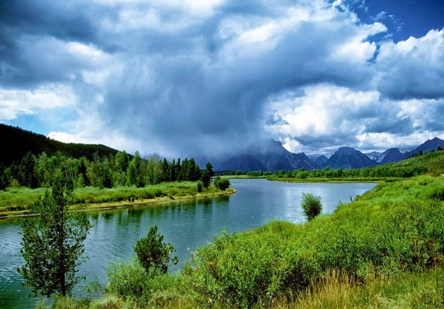 Storms clouds emerge over the Teton Mountains