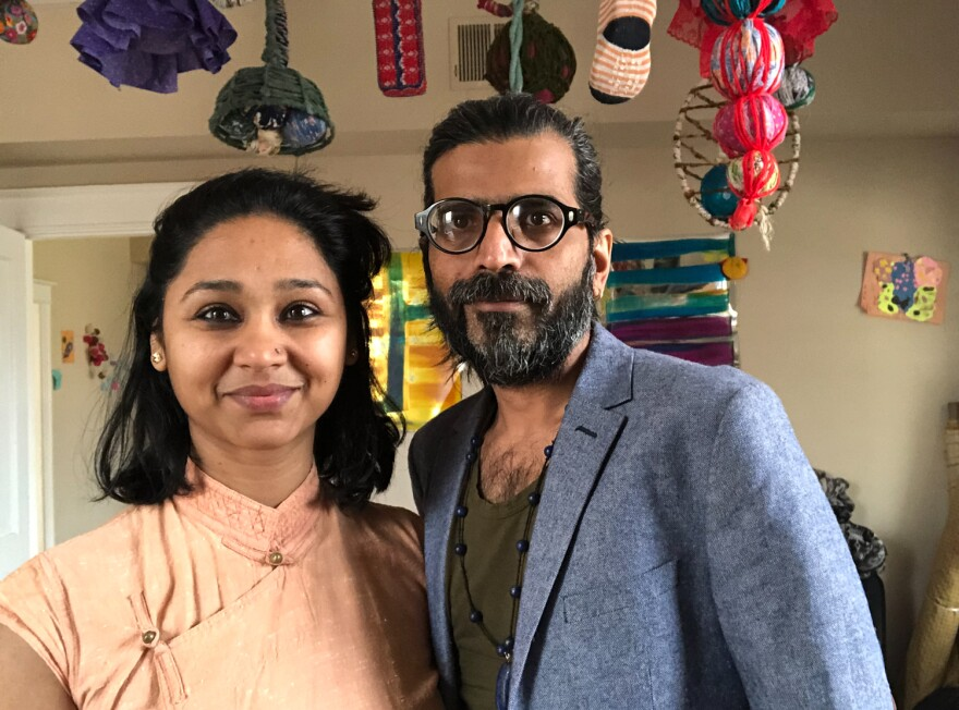 Artist Mee Jey and journalist Jey Sushil, at home in St. Louis where they've collaborated on a unique portrait series. [4/10/20]