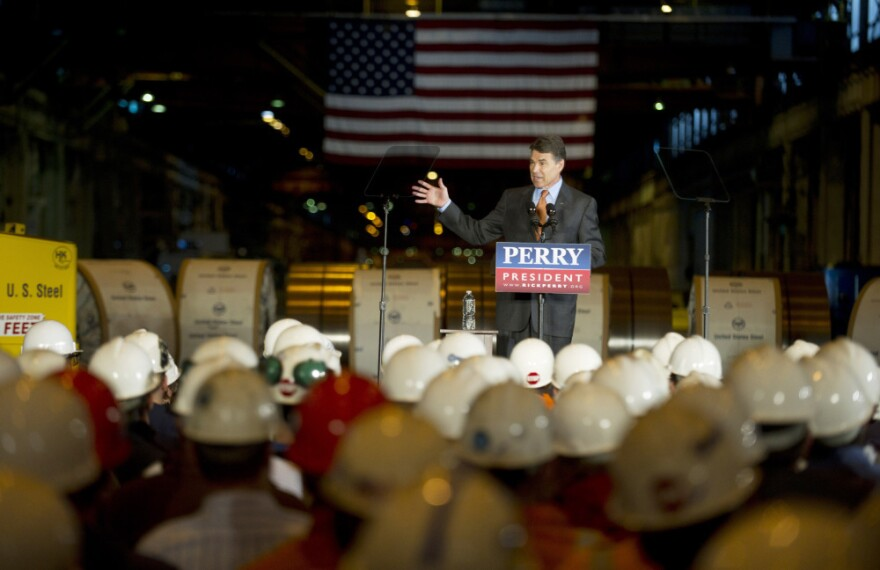 <p>Texas Gov. Rick Perry lays out his energy plan at a US Steel plant in West Mifflin, Pa., Oct. 14, 2011.</p>