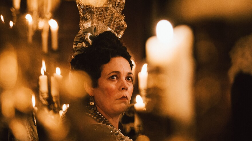 Queen Anne (Olivia Colman) gets Whiggy with it in Yorgos Lanthimos' <em>The Favourite.</em>