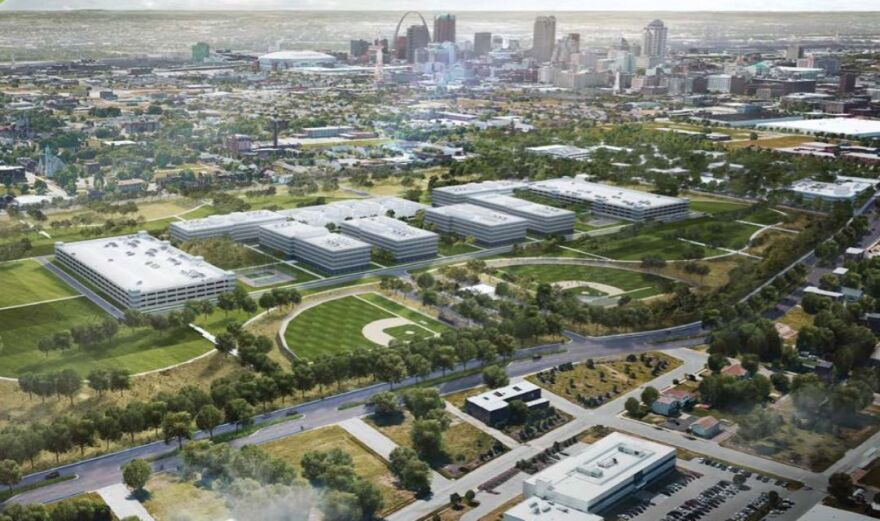 An artist's rendering of the new $1.75 billion NGA West headquarters in north St. Louis.