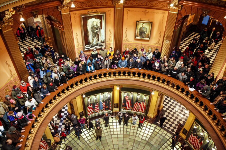 Protestors filled the Michigan State Capitol before the state electoral college met to cast their votes on December 19, 2016 in Lansing, Michigan. (Sarah Rice/Getty Images)