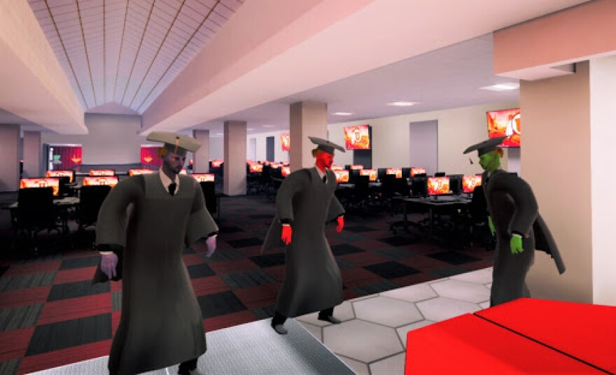 Screengrab from the video game showing avatars in graduation caps and gowns