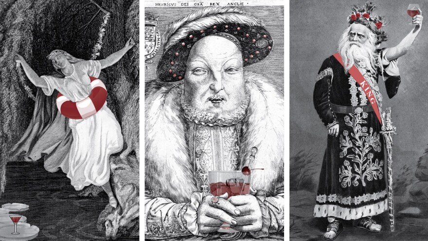 A trio of illustrations from the cocktail book <em>Shakespeare, Not Stirred</em>: Ophelia, King Henry VIII and King Lear.