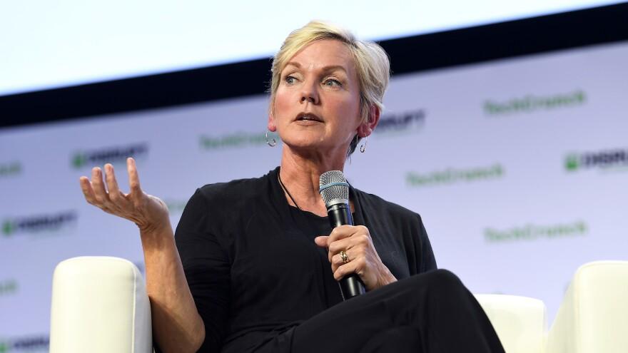 Former Michigan Gov. Jennifer Granholm speaks onstage during a TechCrunch Disrupt conference in San Francisco in 2019.