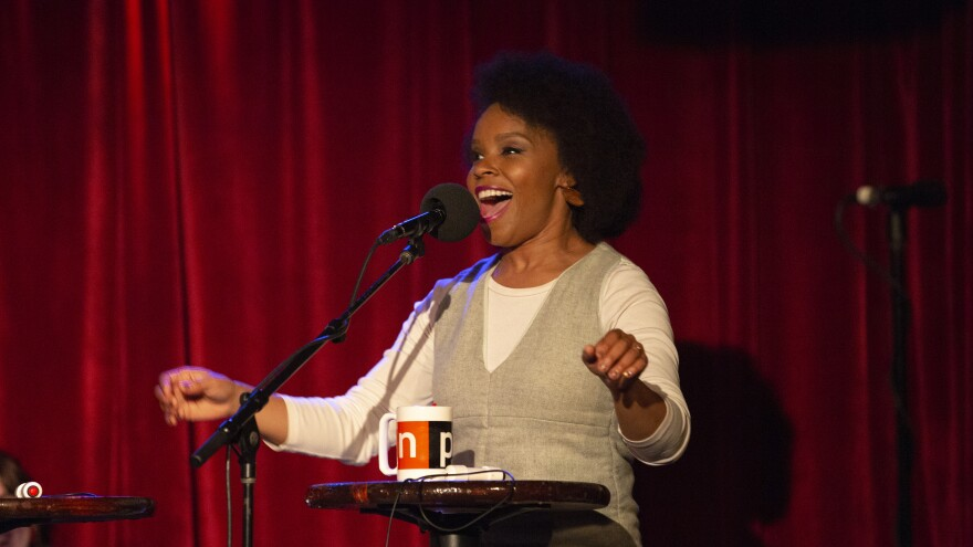 Amber Ruffin appears on <em>Ask Me Another</em> at the Bell House in Brooklyn, New York.